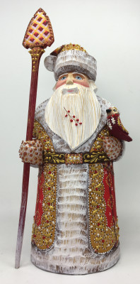 260 mm Santa Claus hand carved and painted wooden figure with a Bird (by Natalia Workshop)