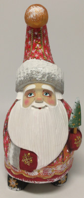 170 mm Santa Claus with Christmas tree (by Igor Carved Wooden Figures Studio)