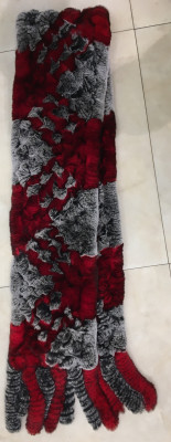 150x1300 mm Red and Grey Knitted Rabbit Hair Scarf (by Skazka Fur)