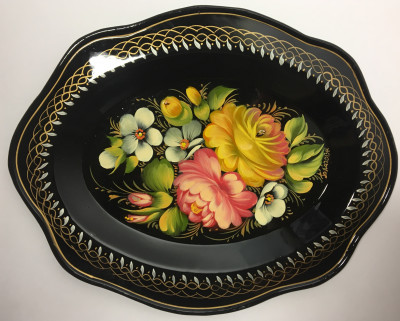 220x180 mm Zhostovo Patterns hand painted and lacquered Metal Forged Tray (by Lada Crafts)