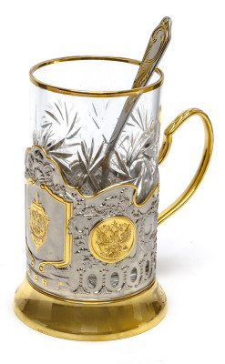 FSS of Russia Gold Plated Brass Tea Glass Holder with Crystal Glass and Gold Plated Tea Spoon (by Kolchugino)