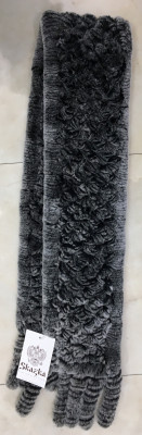 150x1300 mm Grey Knitted Rabbit Hair Scarf (by Skazka Fur)
