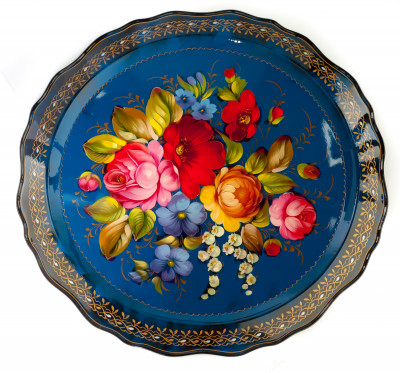 d 450 mm Zhostovo Patterns hand painted and lacquered by Ryabova Metal Forged Tray (by Lada Crafts)