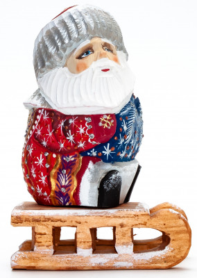 130 mm Santa with a Bag Riding the Sleighs handpainted Wooden Carved Statue (by Igor Carved Wooden Figures Studio)