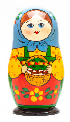 120 mm Mistress with a Basket of Mushrooms hand painted on Wooden Matryoshka doll 5 pcs (by Golden Cockerel Studio)