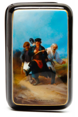 50x80mm Traveling Carnival hand painted lacquered box from Fedoscino (by Alexander Studio)