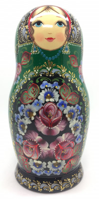 200 mm Zhostovo tall hand painted Russian Matryoshka doll 5 pcs (by A Studio)