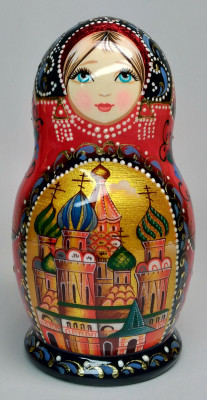 135 mm Moscow Snt Basil Cathedral hand painted on wooden Matryoshka doll 5 pcs (by A Studio)