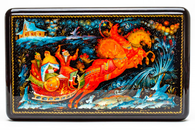 260x160mm Troika hand painted lacquered box from Palekh (by Pavel Studio)