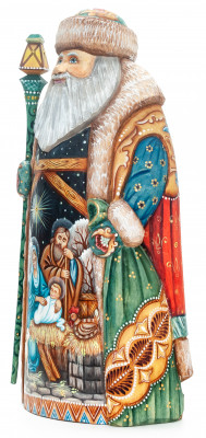 240mm Santa with a Magic Staff with handpainted Nativity Wooden Carved Statue (by Sergey Christmas Workshop)