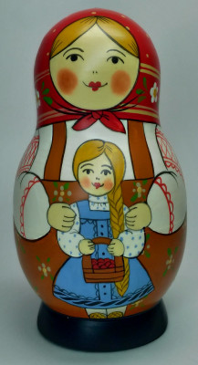125 mm Mother with Daughter hand painted Traditional Russian Wooden Matryoshka doll 5 pcs (by Igor Malyutin)