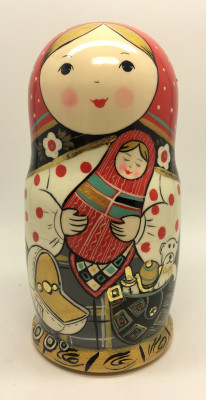 180 mm Russian Girl plays with baby Girl hand painted wooden Matryoshka doll 5 pcs (by A Studio)