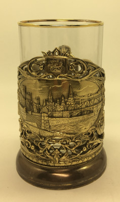 Moscow Kremlin Cast Brass Cast Tea Glass Holde with Faceted Glass (by Kolchugino) r