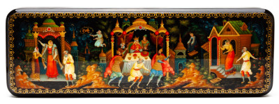 300x100mm The Tale of the Fisherman and the Fish hand painted lacquered box from Palekh (by Pavel Studio)