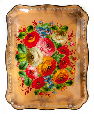 345x450 mm Zhostovo Patterns hand painted and lacquered by Gogina Metal Forged Tray (by Lada Crafts)