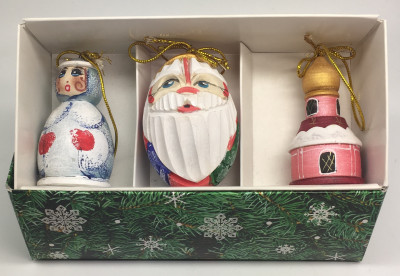Santa and Snowmaiden Princess Carving Christmas Ornaments Set of 3 pcs (by Ilya Painted Dolls Studio)