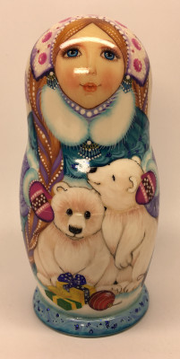 130 mm Snowmaiden Princess and Polar Bears hand painted wooden Matryoshka 5 pcs (by Vasily Crafts)