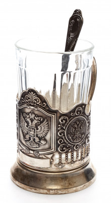 Coat of arms of Russia Silver Plated Brass Tea Glass Holder with Faceted Glass and Silver Plated Spoon (by Kolchugino)