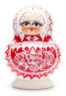 130 mm Red Gzhel with Bubbles hand painted wooden Matryoshka doll 10 pcs (by Rose Studio)