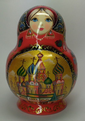 130 mm Moscow Cathedrals hand painted wooden round Matryoshka doll 10 pcs (by A Studio)