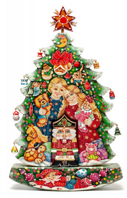 Children and Nutcracker Hand Painted Carved Wood Christmas Tree with Ornaments (by Vladislav Toays)