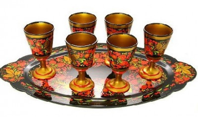 Golden Khokhloma hand painted wooden Glasses for Sparkling Wine and Tray (set of 7 pcs)