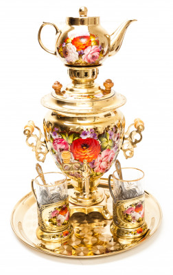Zhostovo Flowers Electric Gold Samovar Kettle with 2 hand painted Brass Tea Glass Holders, Ceramic Teapot and metal Tray