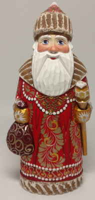 180 mm Santa Claus With a Staff And a Bag of Gifts (by Igor Carved Wooden Figures Studio)