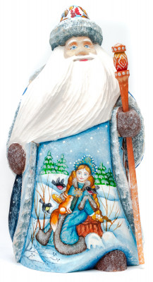 180 mm Santa Claus with picture Snowmaiden plays with Squirrel hand painted wooden statue (by Sergey Christmas Workshop)