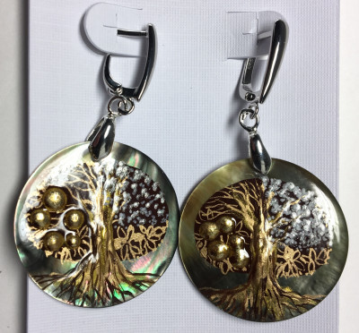 d30 mm Apple Tree hand painted on Nacre Earrings (by Tatiana Shkatulka Crafts)