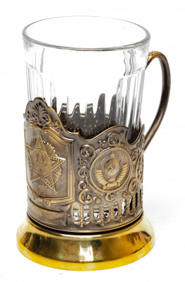 Order of Victory Pure Brass Tea Glass Holder with Faceted Glass (by Kolchugino)