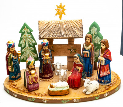 Nativity Set of 13 handpainted Carving Wooden Figures
