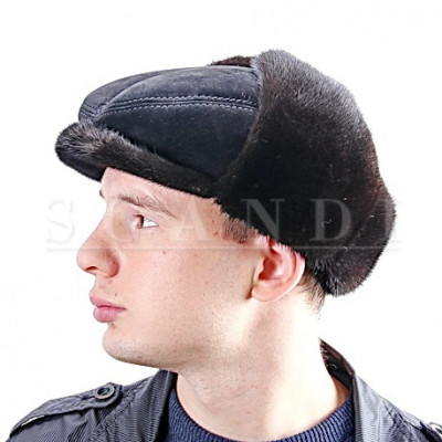 Black Suede Bugatti Cap with Ear flaps and Mink Fur (by Scandi Furs)