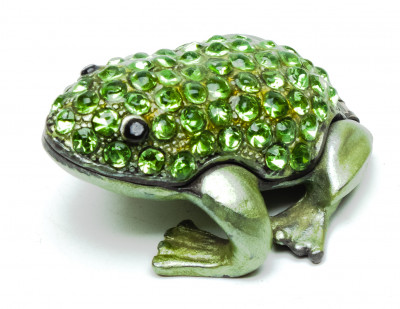 20 mm Frog with the Rhinestones Green Jewellery Box