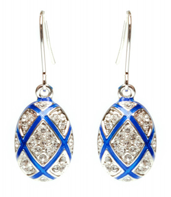 15x35 mm Diamond Blue Egg Shaped Earrings