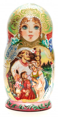 160 mm The Magic Swan-Geese hand painted on Wooden Matryoshka doll 5 pcs (by Valeria Crafts)