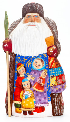 200 mm Santa with a Magic Staff and a Bag with handpainted Playing Children Wooden Carved Statue (by Igor Carved Wooden Figures Studio)