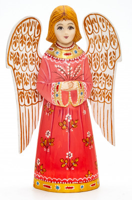 150 mm Angel with Wings hand painted wooden figurine