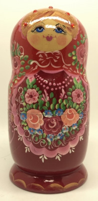 180 mm Red Gzhel Patterns hand painted on wooden Russian Matryoshka 5 pcs (by Rose Studio)