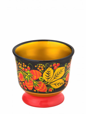 80x90 mm Khokhloma hand painted wooden Cup (by Golden Khokhloma)
