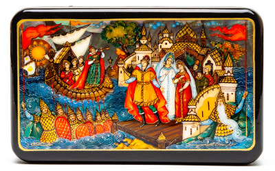 150x90mm The Tale of Tsar Saltan hand painted lacquered box from Palekh (by Pavel Studio)