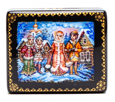 55x45mm Snowmaiden Hand Painted Jewellery Box (by Sadko Workshop)