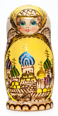 170 mm Moscow Cathedral Burnt Wood Matryoshka Doll 5 pcs inside (by Tabrik Studio)