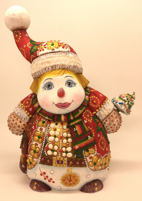 230 mm Snowman hand carved and painted wooden figure (by Natalia Workshop)