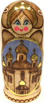 170 mm Moscow Cathedrals Burnt wooden matryoshka doll 5 pcs (by Elena Crafts)