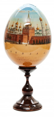 280 mm Moscow Red Square Panorama all around hand painted Wooden Egg with standby (by Andrey Studio)