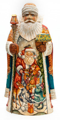 350 mm Santa Claus with a Magic Staff and a Box with handpainted Santa with a Box of Toys Wooden Carved Statue (by Sergey Christmas Workshop)