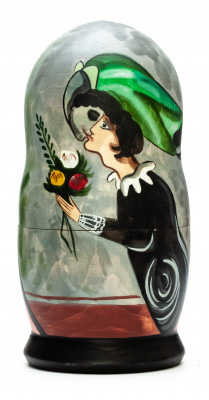180 mm Birthday by Chagall hand painted on wooden Matryoshka doll 5 pcs (by Alexander Famous Paintings Studio)