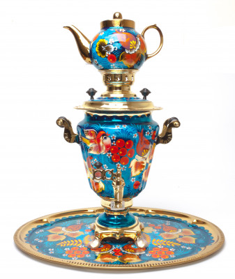 Bullfinch and Rowan Hand Painted Electric Samovar Kettle with Teapot and Tray