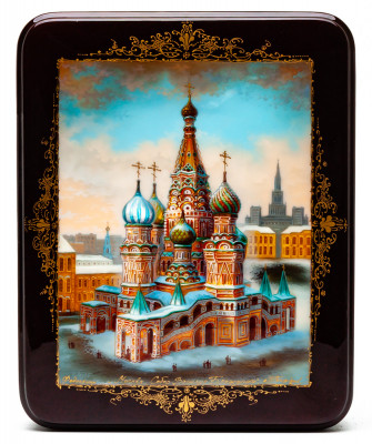 150x190mm Saint Basil Cathedral hand painted lacquered jewelery box (by Panferoff Studio)